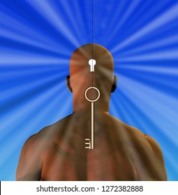 Bronze key to mind. Man with keyhole in head. 3D rendering