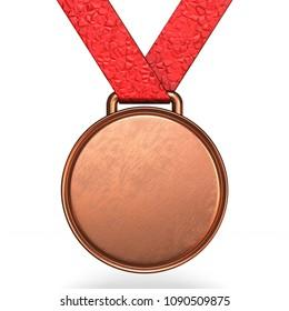 Bronze medal 3D rendering illustration isolated on white background