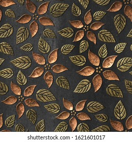 Bronze seamless texture with carving flowers pattern, 3D illustration, 3d panel