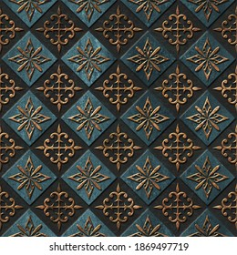 Bronze seamless texture with carving square pattern, 3D illustration, 3d panel