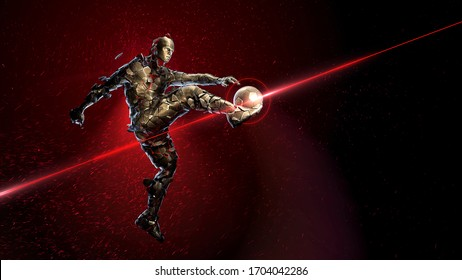 Bronze soccer player holding a jump kick. broken into small fragments against a background of sparks and flame with a golden ball. concept of epic victory in sports 3d render.