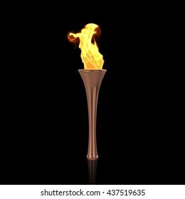 Bronze torch on black background. Sport flame. Torch fire. Torch flame. Olympic torch. Paralympic torch. 3D Render.
