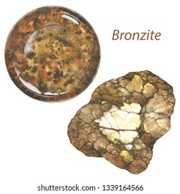 Bronzite watercolor gems and minerals. Sacral chakra stones and healing crystals isolated on white background