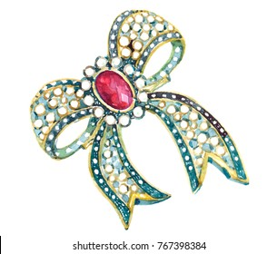 brooch ruby luxury decoration Watercolor  illustration isolated on white background
