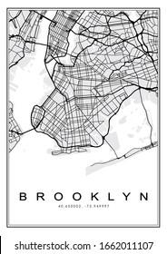 Brooklyn Black & White Geography Map Illustration