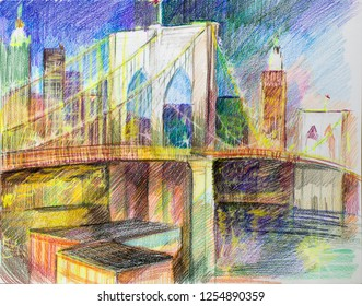 color pencil drawing images stock photos vectors shutterstock https www shutterstock com image illustration brooklyn bridge by colored pencil drawing 1254890359