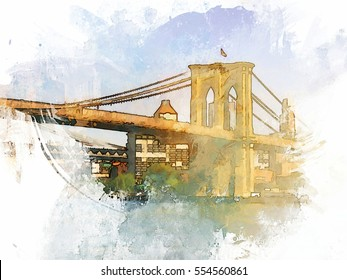The Brooklyn Bridge in New York City turned into a colorful summer illustration
