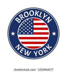 Brooklyn and New York city badge or typography print design. NYC fashion graphic for t-shirt and apparels, banner, poster or placard.