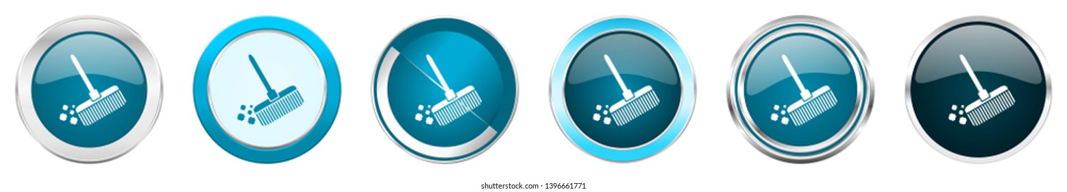 Broom silver metallic chrome border icons in 6 options, set of web blue round buttons isolated on white background