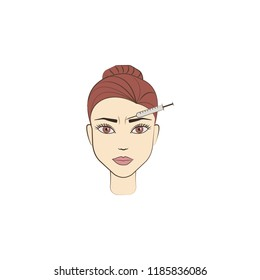 brow botox anti aging colored icon. Element of beauty and anti aging icon for mobile concept and web apps. Color brow botox anti aging icon can be used for web and mobile