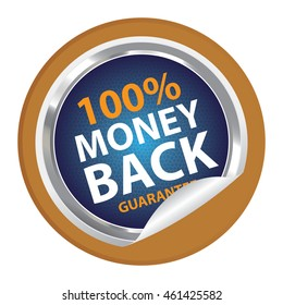Brown 100% Money Back Guarantee Campaign Promotion Infographics Icon on Circle Peeling Sticker Isolated on White Background