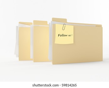 a brown 3d folder with a note