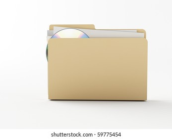 a brown 3d folder with a note paper