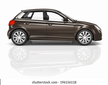 Brown 3D Hatchback Car Illustration