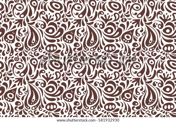 Brown abstract floral ornament, seamless pattern of abstract decorative elements.