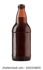 Brown amber beer bottle Heritage. 12 oz or 355 ml volume. Isolated high resolution 3d render.