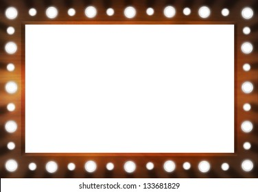Brown Back stage Light Mirror with white space. Background Frame.