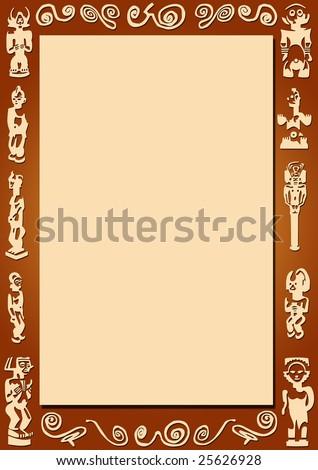 Brown Background Border African Signs Symbols Stock Illustration