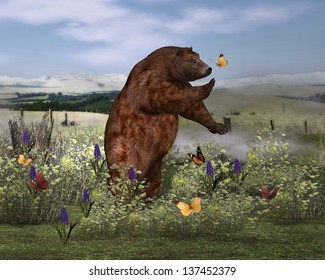 Brown Bear in a field Brown bear in a field surrounded by colorful butterflies. Bear reaches out to a nearby yellow butterfly.