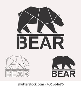 Brown bear. Grizzly bear. Arctic bear geometric lines silhouette isolated on white background vintage vector design element set