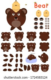 Brown bear set. Collection of legs,arms,postures,eyes,hives,bee,emotions. Different actions. Simple bear for animation.