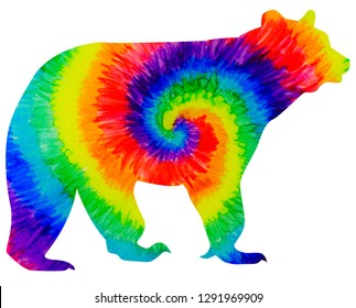 A brown bear silhouette with a hand-painted tie-dye rainbow design inside, Mama Bear, Autism, Gay Pride.