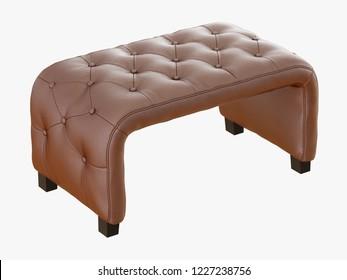Brown bench capitone 3d rendering