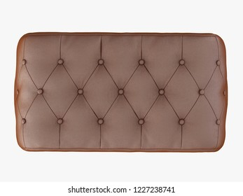 Brown bench capitone view top 3d rendering