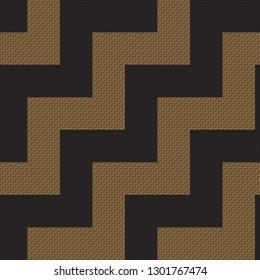 Brown and blag zig zag Maori Tukutuku pattern