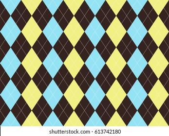 Brown blue yellow argyle seamless pattern.