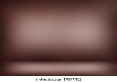 Brown blur 3d background. Soft vignette on wall and floor texture.