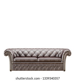 Brown capitone sofa on white background 3d rendering
