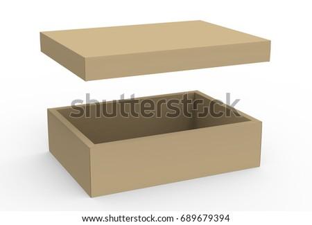Brown Cardboard Box Mockup Blank Template With Floating Lid In 3d Rendering