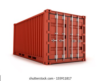 Brown cargo Container on white background (done in 3d)