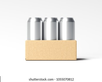 Brown carton box with beer cans isolated on white background. 3d rendering