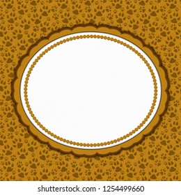 Brown cat pattern with oval border with copy space for your message 3D Illustration