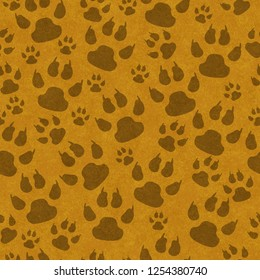 Brown cat paw prints seamless pattern background with texture 3D Illustration