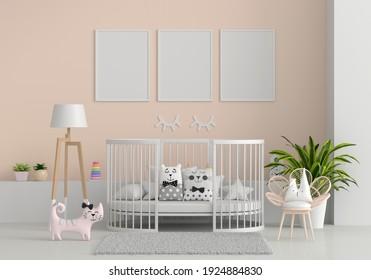Brown child room with frame mockup, 3D rendering