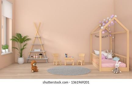 Brown children bedroom interior, 3D rendering