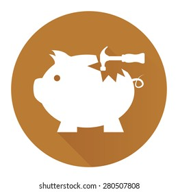 Brown Circle Broken Piggy Bank With Hammer Flat Long Shadow Style Icon, Label, Sticker, Sign or Banner Isolated on White Background