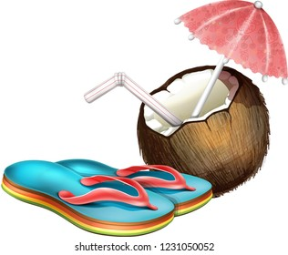 brown coconut with a straw and umbrella and Flipflops., isolated