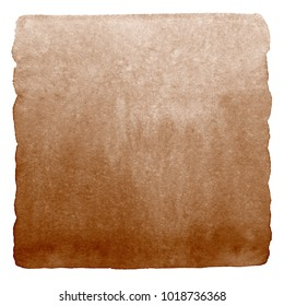 Brown, coffee watercolor gradient background isolated on white. Chocolate, hazel color aquarelle background. Watercolour stains template with rounded edges. Square shape. Hand drawn painted texture.