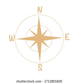 Brown compass on white background. Compass vector icon