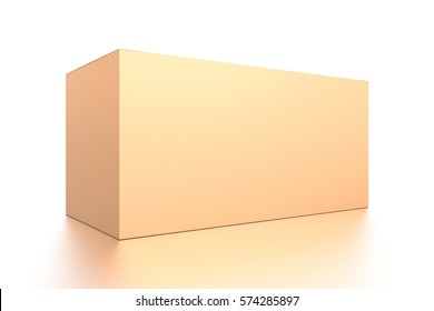 Brown corrugated cardboard box from side closeup angle. Blank, horizontal, and rectangle shape. 3D illustration isolated on white background.