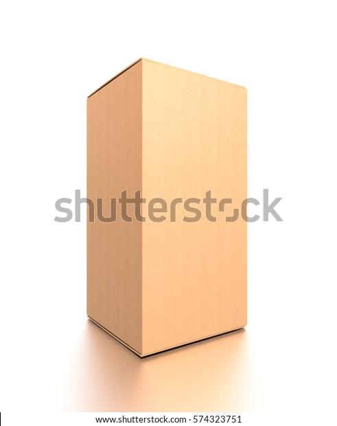 Brown Corrugated Cardboard Box Side Closeup Stock