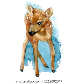 brown deer. bambi on the background of watercolor stains.