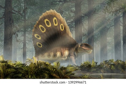 A brown dimetrodon, a prehistoric sail-backed creature that predates the dinosaurs, stands in a sunlit permian forest bearing its sharp teeth. 3D Rendering