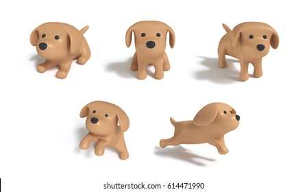 Brown dogs five action big image white background 3d rendering