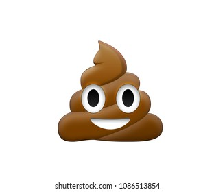 Brown dung with eye and mouth icon
