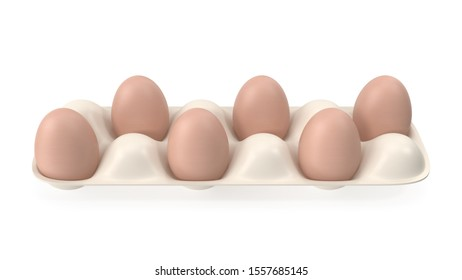 Brown eggs lie in a white container without a lid on a white background 3D-rendering